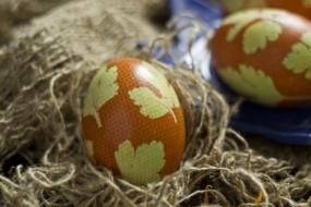 Пасхальні яйця, декоровані за допомогою петрушки