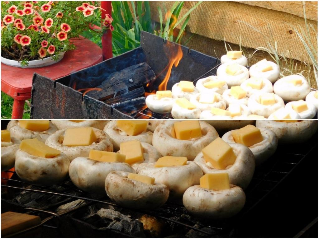 Дачний варіант страви: відокремити шапочки грибів від ніжок, покласти туди сир — і на гриль хвилин на десять