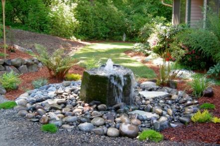 Фонтан та водоспад у декорі саду — 30 ідей з фото
