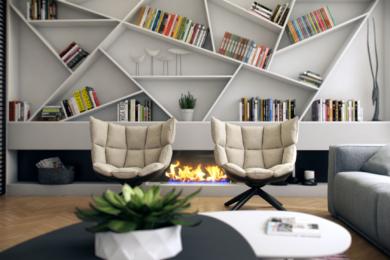 Діагональні стелажи із книгами