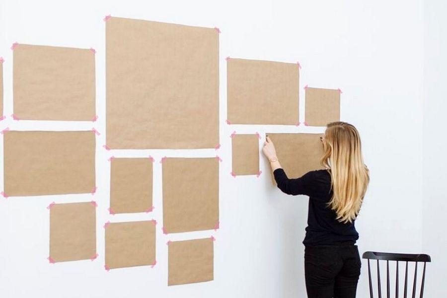 Cпробуйте спочатку оформити стіну схематично за допомогою паперу