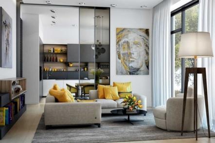 Поєднання сірого та жовтого кольорів в інтер'єрі — 30 ідей з фото