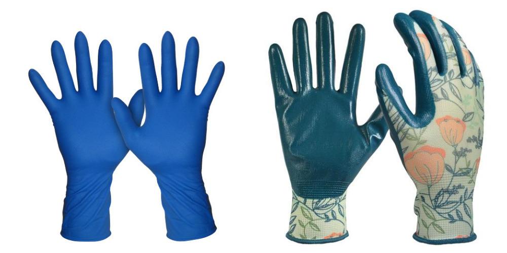 Ліворуч - 100% гумові погані рукавички, праворуч - хороші рукавички для роботи в саду