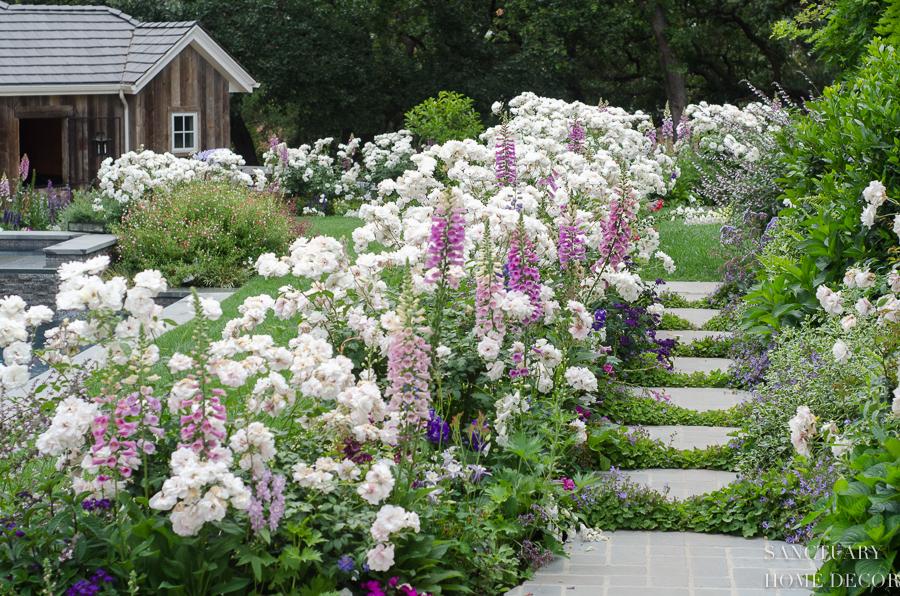 В англійському стилі саду місце м'яким, природнім відтінкам та пастельными барвам