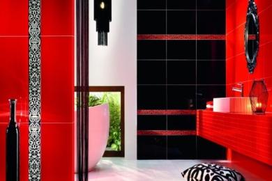 Чорно-червона ванна кімната